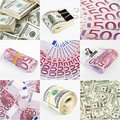 Collage from dollar and euro money backgrounds Royalty Free Stock Photo