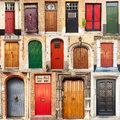 Collage of doors from Bruges, Belgium Stock Photography