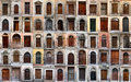 Old wooden doors collection. Collage of 60 doors and gates Royalty Free Stock Photo