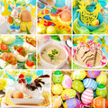 Collage with easter decorations and traditional dishes Stock Images