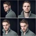 Collage of elegant man in cardigan Stock Photos
