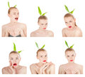 Collage of emotions girl performing various expressions with her face young pretty isolated on white background Stock Photos