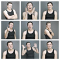 Collage of emotions of a young man nine on gray background Stock Photography