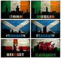 Collage of famous british cities cork dublin edinburgh glasgow belfast cardiff on the grunge flag Royalty Free Stock Image