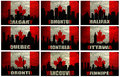 Collage of famous canadian cities winnipeg halifax calgary edmonton quebec montreal ottawa toronto vancouver on the grunge Royalty Free Stock Photo