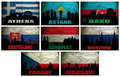 Collage of famous eastern europe cities athens astana baku bratislava budapest moscow prague warsaw on the grunge flag Stock Photo