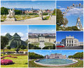Collage with famous places landmarks and buildings of vienna Stock Photography