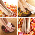 A collage of female feet in petals and towels Royalty Free Stock Images