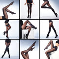 Collage of female legs in stockings set sexy hosiery over white background many different frames Stock Photos