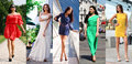 Collage of five beautiful models in colored summer dresses