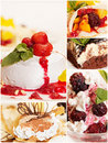 Collage from five delicious desserts Royalty Free Stock Photo