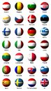 Collage of flags of the european union with labels english Stock Photo