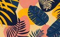 Collage floral pattern. Modern exotic jungle flover and leaves illustration in vector. Royalty Free Stock Photo