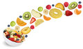 Collage of flying fruit salad with fruits like apples, oranges, Royalty Free Stock Photo