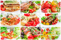 Collage of food for lunch and dinner Royalty Free Stock Images