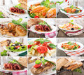 Collage food of prepared dishes of meat and cereals Stock Photos