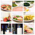 Collage of food and wine italian foods win bottles concept restaurant Stock Images