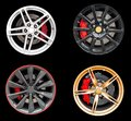 Collage of Four car rims. Royalty Free Stock Photo