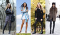 Collage of four different models in fashionable clothes for the seasons outdoors Royalty Free Stock Photos