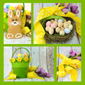 Collage of four images of Happy Easter yellow and lime green theme gingerbread bunny cookies Royalty Free Stock Photo