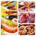 Collage four pictures different spanish tapas dishes such as paella jamon fabada Royalty Free Stock Photo