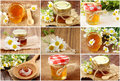 Collage  with fresh honey Royalty Free Stock Photo
