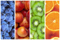 Collage of fresh summer fruit in the form of vertical stripes Royalty Free Stock Photo