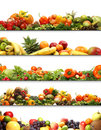 A collage of fresh and tasty fruits and vegetables Royalty Free Stock Photography