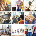 Collage Friendship Bonding Memories Happiness People Concept Royalty Free Stock Photo