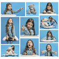 Collage girl and emotions different years on a blue background Royalty Free Stock Photography