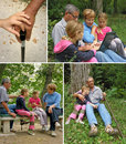 Collage grandparents and granddaughters Royalty Free Stock Photo
