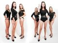 Collage of group of hot young women in bodysuits Royalty Free Stock Photo