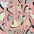 Collage of grunge hearts seamless background pattern Royalty Free Stock Photos