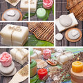 Collage of handmade soap with natural ingredients over wooden background Royalty Free Stock Image