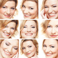 A collage of happy emotions of a young woman Stock Image