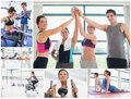 Collage of happy people at the gym working out Royalty Free Stock Image