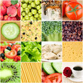Collage of healthy food backgrounds Royalty Free Stock Photo