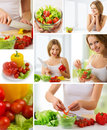 Collage. healthy food, fresh vegetables Royalty Free Stock Photo