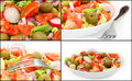Collage with Healthy Fresh Salad Royalty Free Stock Images