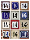 Collage of house numbers fourteen Royalty Free Stock Images