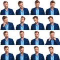 Collage of 16 images of cool young smart casual man Royalty Free Stock Photo