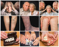 The collage of images of elderly couple on black background.