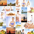 A collage of images with fresh fruits and relaxing women Royalty Free Stock Photo