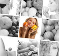 A collage of images with healthy food and women Stock Photos