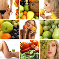 A collage of images with healthy food and women Royalty Free Stock Images