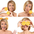 A collage of images with a woman with oranges Royalty Free Stock Photos