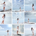 A collage of images with young women on the sea Stock Photography