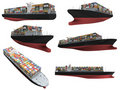 Collage of isolated ship Royalty Free Stock Image