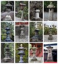 Collage with japanese stone lanterns Royalty Free Stock Photo