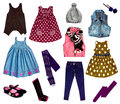 Collage of kids clothing сollage bright girl clothes isolated on white Stock Photos